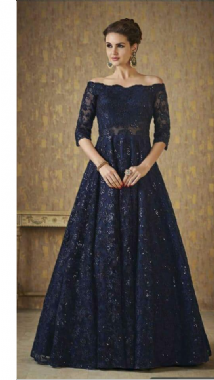 Sparkly Blue Off Shoulder Gown